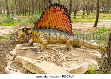 model of a dimetrodon at the Dino parque tourist attraction and educational centre located in Lourinha Portugal - Stock Image