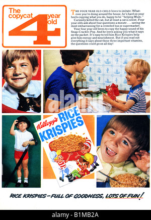 1970 Advertisement for  Kellogg's Rice Krispies breakfast cereal FOR EDITORIAL USE ONLY - Stock Image