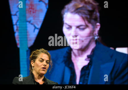 Tracey Emin artist speaking on stage at Hay Festival 2017 Hay-on-Wye Powys Wales UK - Stock Image