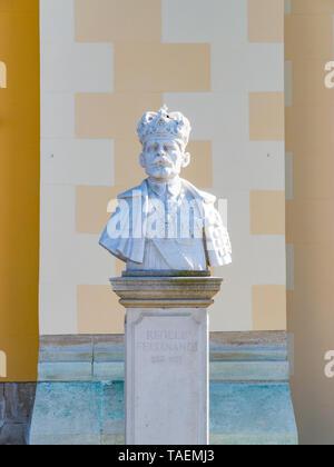 ALBA IULIA, ROMANIA - February 28, 2019: Statue of the Ferdinand I of Romania in Alba Iulia, Romania. - Stock Image