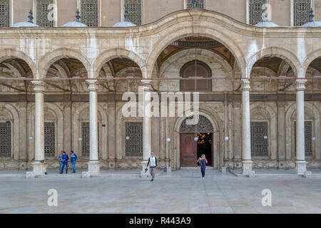 Cairo, Egypt - January 3 2016: Courtyard of the great Mosque of Muhammad Ali Pasha (Alabaster Mosque), Citadel of Cairo, commissioned by Muhammad Ali  - Stock Image