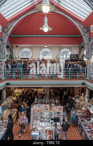Camden Town, England - June 9, 2019: Lower Market Hall, covered market at Camden Lock on June 9, 2019 in London, UK. Camden Market is a busy popular m - Stock Image