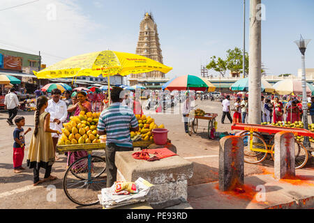 Mango seller in  south India, Mysore - Stock Image