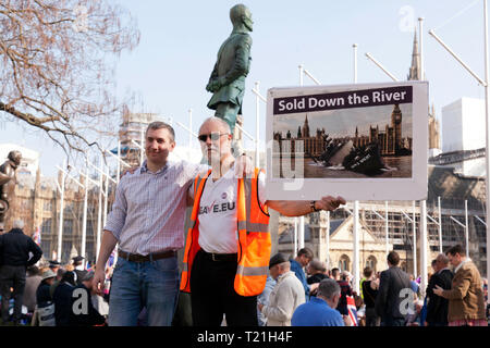 Protestors with a 'Sold Down the River' Banner,  demonstrate against the delay to Brexit on the day the UK was supposed to be leaving the EU - Stock Image