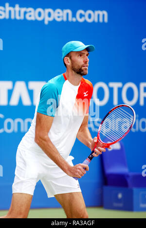 Pune, India. 1st January 2019. Ivo Karlovic of Croatia in action in the first round of singles competition at Tata Open Maharashtra ATP Tennis tournament in Pune, India. Credit: Karunesh Johri/Alamy Live News - Stock Image