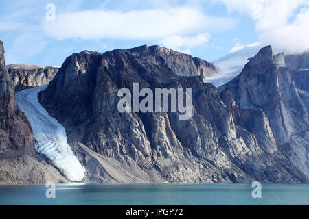 Glacier sighted when the expedition ship cruised into one of the fjords of Baffin Bay, Arctic Circle - Stock Image