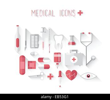 Medical icons in red and grey vector - Stock Image