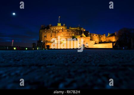 EDINBURGH, SCOTLAND - FEBRUARY 8, 2019 - Edinburgh Castle is an old fort located on Castle Rock. It is the city's symbol - Stock Image