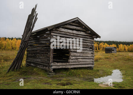 Old Farm building in field, Ammarnäs, Lapland, Sweden - Stock Image