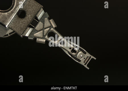 Read-Write head and arm of Samsung hard disk drive [HDD] - 3 1/2 inch, 500Gb, 2010 model. - Stock Image