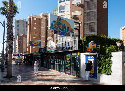 Benidorm, Costa Blanca, Spain, 25th February 2019. Two staff members at the Beachcomber pub in Benidorm New Town on the British square. Two British tourists have been arrested in relation to the alleged attack. Seen here is the Loch Ness Fun Pub which is not connected to the reported incident.  Credit: Mick Flynn/Alamy Live News - Stock Image
