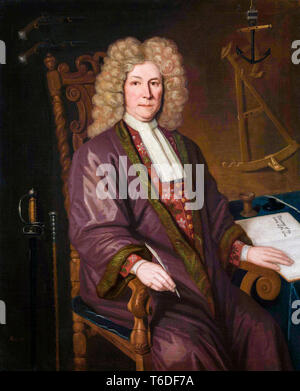 Captain Robert Knox of the East India Company (1641-1720), portrait painting, P. Trampon, 1711 - Stock Image
