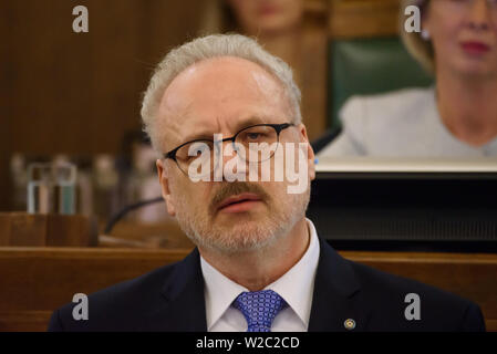 RIGA, LATVIA. 8th of July 2019. Egils Levits, Newly elected President of Latvia, Solemn oath and address at the extraordinary session of the Saeima (Latvian parliament). Credit: Gints Ivuskans/Alamy Live News - Stock Image