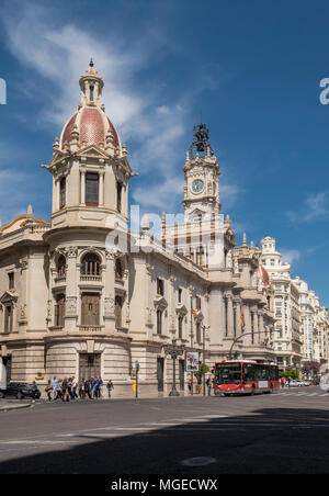 Section of Ayuntamiento de Valencia building (ValenciaTown Hall), Plaza del Ayuntamiento, South Ciutat Vella district, Valencia, Spain. - Stock Image