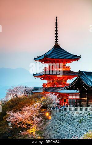 Sanjunoto pagoda of Kiyomizu-dera Buddhist temple, Kyoto, Japan - Stock Image