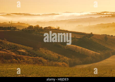 Sunrise on the hills of Rimini,italy - Stock Image
