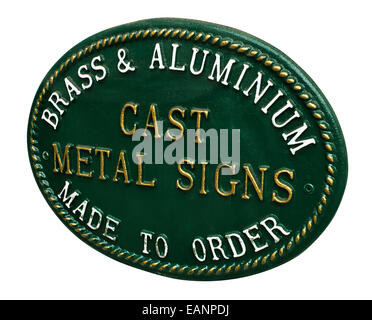 Cast Metal sign for selling custom signage for a new business or home a great example of lettering and decorative - Stock Image
