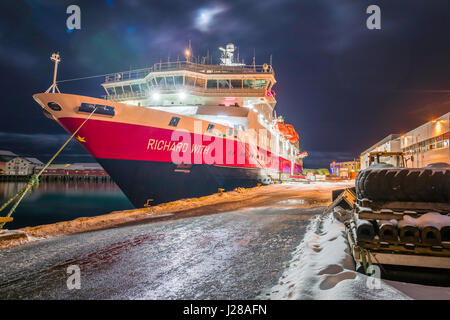 Hurtigruten ship MS Richard With, berthed at Svolvær, in the Lofoten archipelago, Norway. - Stock Image