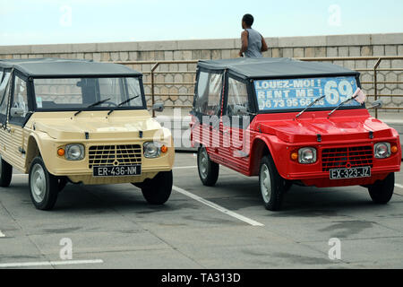 Nice, France - May 21, 2019: Two Citroen Mehari (Front View), French Retro Cars Parked In A Parking Lot In Nice On The French Riviera, Red And Beige C - Stock Image