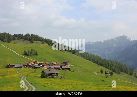 Small village Obermutten, Canton of Grisons, Switzerland. - Stock Image