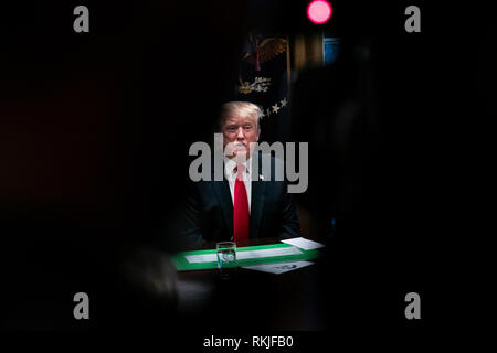 U.S. President Donald Trump speaks to reporters in the Cabinet Room as he prepares as he meets with Republican lawmakers to discuss proposed trade legislation at the White House in Washington, D.C. on January 24, 2019. - Stock Image