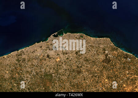 Tripoli in Lybia seen from space - contains modified Copernicus Sentinel Data (2019) - Stock Image