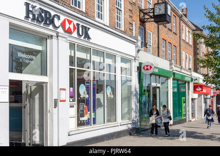 Row of retail banks, Station Road, Edgware, London Borough of Barnet, Greater London, England, United Kingdom - Stock Image