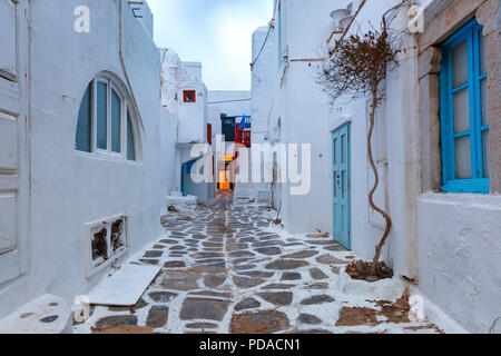 Empty street in Mykonos City, Chora, Greece - Stock Image