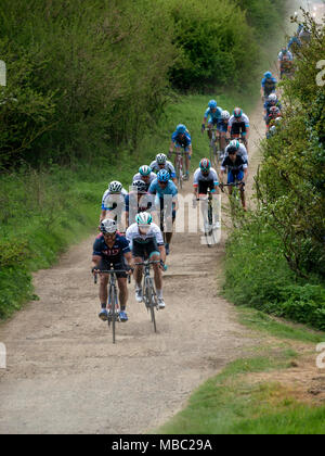 Competitors in the 2017 International CiCLE Classic Cycle Race on the Sawgate Lane off-road section, Melton Mowbray, Leicestershire, England, UK - Stock Image