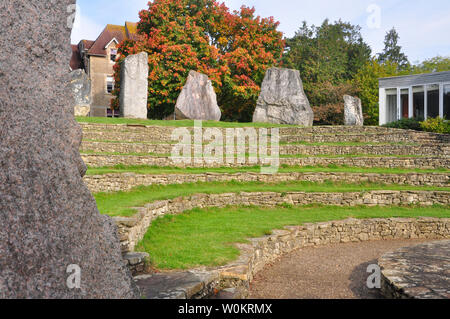 The ECOS (European Community Of Stones) standing stones in Frome around the amphitheatre at the Community College.12 stones from the founder members o - Stock Image