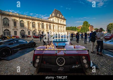 Piedmont Turin - Turin auto show 2019  - Valentino park - Valentino castle  - Pagani - Zonda - Stock Image