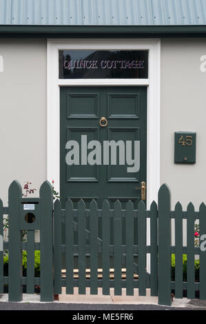 Front door of an early Victorian cottage on Arthur Circus at Battery Point, Hobart, Tasmania, Australia - Stock Image