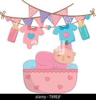 baby sleeping in a cradle with blanked and baby clothes hanging on clothesline rope with feeding bottle and a pendants vector illustration graphic design - Stock Image