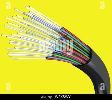 light optical fiber network cable  tech communication speed illustration - Stock Image