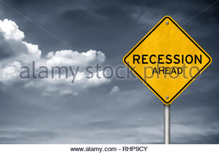 Recession ahead - road sign warning concept - Stock Image