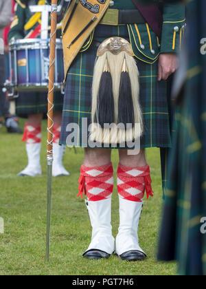 Lonach Gathering, Scotland - Aug 25, 2018: A Drum Major with his pipe band at the Lonach Gathering in Scotland - Stock Image