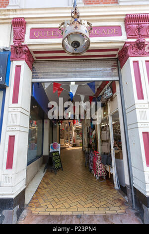 Queens Arcade entrance in Hastings, East Sussex, England , UK - Stock Image
