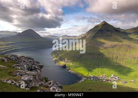 Village of Funningur on the shores of Funningsfjørdur in the Faroe Islands, Denmark. Summer (June) 2017. - Stock Image