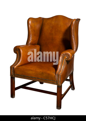 An old leather chair - Stock Image