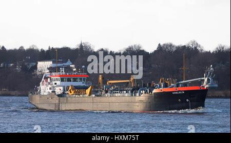 Hamburg, Germany, March 03, 2017, Hopper Dredger Vessel 'Ijsseldelta' , entering the Port of Hamburg. - Stock Image