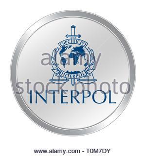 Interpol logo icon - Stock Image