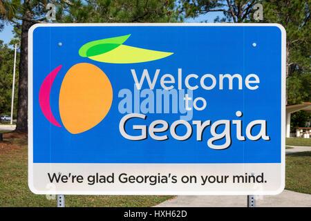Welcome to Georgia sign, USA - Stock Image