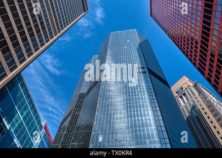 High rise office buildings against a blue sky in downtown Pittsburgh, Pennsylvania, USA - Stock Image