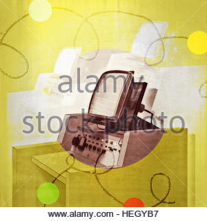 Vintage industrial factory TV monitor workstation in circles - Stock Image