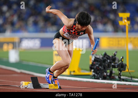YOKOHAMA, JAPAN - MAY 12: Seika Aoyama of Japan in the B final of the women's 4x400m during Day 2 of the 2019 IAAF World Relay Championships at the Nissan Stadium on Sunday May 12, 2019 in Yokohama, Japan. (Photo by Roger Sedres for the IAAF) - Stock Image