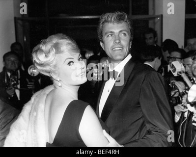 Swedish actress Anita Ekberg and her husband, American actor Rik Van Nutter in 1963. - Stock Image
