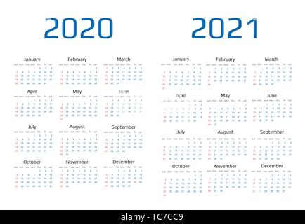 Calendar 2020 and 2021 template.12 Months. include holiday event - Stock Image