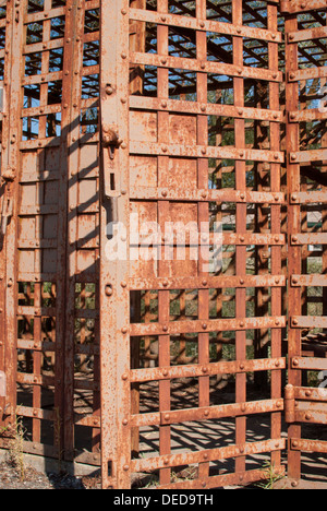 Old rusting jail cell display at Lincoln County Museum, Davenport, Washington State, USA. - Stock Image