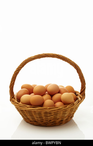 Fresh Eggs in One Basket - Stock Image