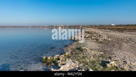 Koblevo, Ukraine - 10.11. 2019.  Deserted autumn beach at the Black Sea resort in the village of Koblevo, Ukraine - Stock Image